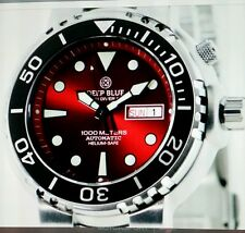 *DEEP BLUE SUN DIVER 3K1000.RED SUNRAY DIAL HELIUM-SEFE. FREE GIFT PURCHASE.