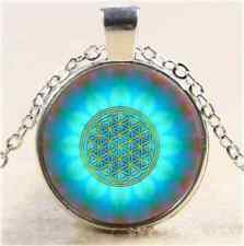 Flower of the life Motive Cabochon Glass Tibet Silver Chain Pendant Necklace