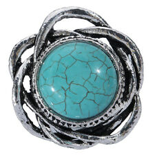 Chaming Flower Hollow Out Tibetan Silver Turquoise Inlay Adjustable Ring Jewelry