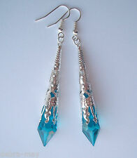 Beautiful Peacock Blue Faceted Teardrop Silver Filigree Drop Earrings - Gift Bag