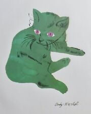 ANDY WARHOL GREEN SAM  SIGNED CAT LITHOGRAPH MATTED