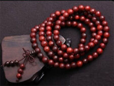 Top Quality Tibetan 108 6mm Red Sandalwood Prayer Beads Mala Necklace -24""