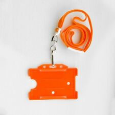 Orange ID Card Holder & Orange Neck Strap Lanyard With Metal Clip