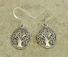 UNIQUE .925 STERLING SILVER OVAL TREE OF LIFE DANGLING EARRINGS  style# e0921