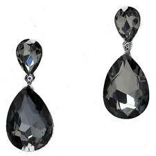 Smokey black diamond colour earrings crystal teardrop prom jewellery 0211