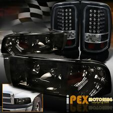 (SHINY SMOKE) Dodge 94-01 Ram 1500/2500/3500 Headlights + LED Black Tail Lights