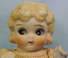 All Bisque Doll Bobbed Hair Japan Big Blue Eyes Pink Crochet Dress Vintage