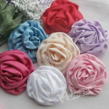 7pcs 75mm Mix Big Ribbon Flowers Roses  Crafts Appliques Wedding Decor RF003