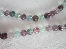 Genuine fluorite bead necklace in purples, greens, mauves & pinks