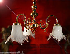 Stunning 1970s Italian three-arm chandelier Heavy cased glass Murano shades