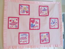 HOMEMADE HANDMADE PINK BARBIE DOLL PATCHWORK QUILT BLANKET 43 X 36