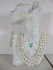 Set 1,6m lang Barock Perlenkette Halskette, geknotet Armband große weiße Perlen