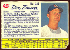 1962 POST BASEBALL CANADIAN #183 DON ZIMMER VG CHICAGO CUBS CARD
