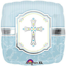 "Baptism or Communion Blessing Cross Blue Foil / Mylar Balloons 18"" ( 2 Balloons)"