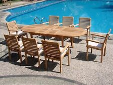 9 PC TEAK STACKING GARDEN OUTDOOR PATIO FURNITURE POOL NEW HARI DINING DECK F02