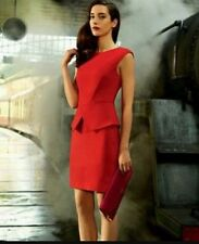 Ted Baker London Red Evvie Structured Peplum Cotton Dress $295 Sizes 4 UK