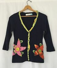 Sparrow Anthropologie Floral Embroidered Crochet Cardigan Sweater Wool Knit M