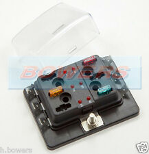 12V/24V 6 WAY MINI BLADE FUSE BOX HOLDER WITH LED FAILURE WARNING LIGHTS