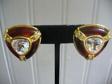 Joan Rivers Clip-On Goldtone Metal Red Plastic Clear Crystal Triangle Earrings
