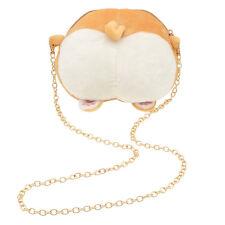 Kawaii Corgi Butt Design Plush Women Shoulder Messenger Bag Long Chain Zipper