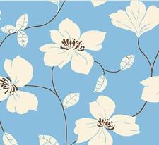 Wallpaper Designer Floral Large Modern Flowers Off White Brown on Light Blue