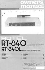 Rotel RT-840 Tuner Owners Manual