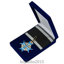 WWI WW1 German Army Blue Max Medal Badge With Ribbon And Box Color Blue