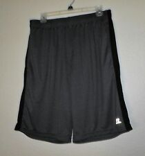 RUSSELL MEN'S GRAY & BLACK ATHLETIC WORKOUT SHORTS SIZE LARGE DRI-POWER
