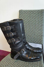 VINTAGE 60'S MAN'S GENUINE LEATHER MOTORCYCLE BOOTS SIZE EURO46 UK11 US11.5