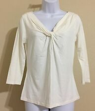 Ann Taylor Women's Ivory 3/4 Sleeve Knotted V Neck Blouse Size M NWT