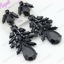 CLIP ON jet BIG CHANDELIER EARRINGS rhinestone BLACK vintage gothic LARGE CLIPS