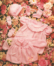"""Baby Dress Matinee Coat Bonnet Bootees Mitts DK/4Ply 16"""" - 22"""" Knitting Pattern"""