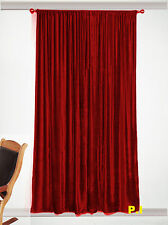 12pcsCOTTON VELVET BLACKOUT  THEATER LINED WINDOW CURTAIN-RUBY RED 90''W X 90''H