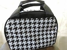 B/W Houndstooth Insulated Lunch Tote Bag Thermal Sack School Travel Zipper NEW