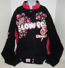 JH DESIGN CHARMS BLOW POP LOLLIPOP EMBROIDERED BLACK PINK COTTON TWILL JACKET L