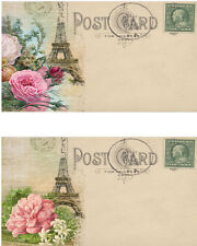 Vintage inspired Paris Eiffel Tower Post Card set 8 laminated