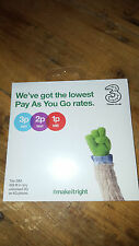 Tre NANO MICRO STANDARD SIM CARD PAY as you go 3 TRIO COMBI MULTI UK 3G 4G