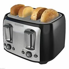 Black & Decker 4 Slice Extra Wide Slot Toaster Black Bread Bagel Bun Waffle NEW