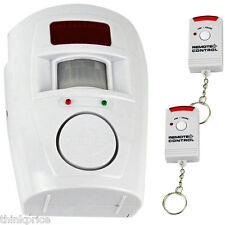 Wireless PIR Motion Sensor Alarm & 2 Remote Controls Home Caravan Shed Garage