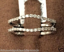 Solitaire Enhancer Insert Diamonds Ring Guard Wrap 14k White Gold Wedding Band