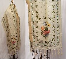 ANTIQUE 19thC Wedding Challis Wool Fringed Shawl Floral Bouquet Lace Print As Is