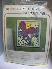 "VINTAGE BUCILLA CREWEL EMBROIDERY KIT ""GIANT BUTTERFLY"" FLOWERS, 12X14 SEALED"