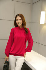 Women's Bow Neck Chiffon Blouse/Top Plus Size