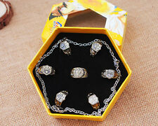 New Anime Hitman Reborn Vongola Cosplay Rings+Necklace 7pcs in Box