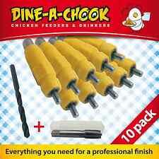 10 Pack Lubing Nipples + Install Kit / Chicken Drinker / Waterer / Chook Feeders