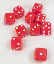 10 Vintage Dice for Card Game Casino Red plastic with White Spots