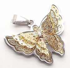 Women's 3D Gold Butterfly CZ Stainless Steel Charm Pendant Free Chain Necklace