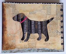 "Original Mixed Media 8"" X 10"" 1.5"" Canvas Retriever Dog Loyal Collage Wall Art"