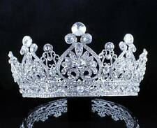 VINTAGE FULL CROWN CLEAR AUSTRIAN CRYSTAL RHINESTONE TIARA PAGEANT PROM T12159