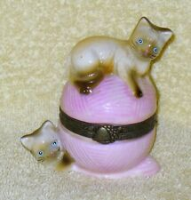 Porcelain Trinket Hinged Box ~ siamese kittens playing with a ball of yarn